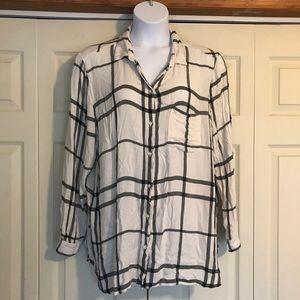 Button down plaid ladies shirt
